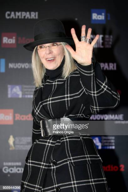 Diane Keaton walks a red carpet ahead of the 62nd David Di Donatello awards ceremony on March 21 2018 in Rome Italy