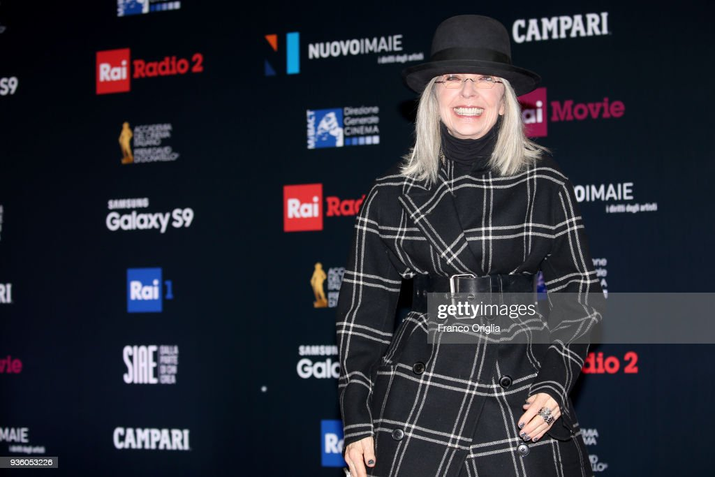 Diane Keaton walks a red carpet ahead of the 62nd David Di Donatello awards ceremony on March 21, 2018 in Rome, Italy.