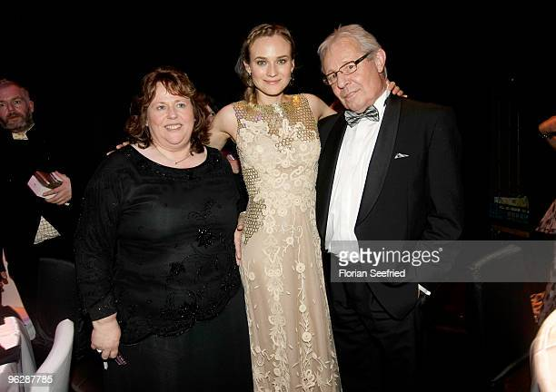 Diane Krueger and her mother MariaTheresia and Wolfgang Bieneck attend the Goldene Kamera 2010 Award at the Axel Springer Verlag on January 30 2010...