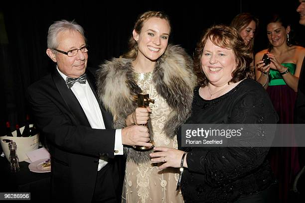 Diane Krueger and her parents MariaTheresia and attend Wolfgang Bieneck the Goldene Kamera 2010 Award at the Axel Springer Verlag on January 30 2010...