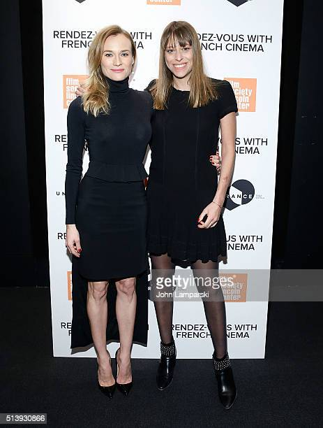 Diane Kruger and Alice Winocour attend 'Disorder' 2016 RendezVous with French Cinema at Furman Gallery on March 5 2016 in New York City
