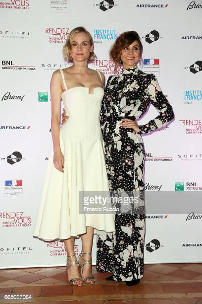 Diane Kruger and Clotilde Courau attend the Rendez Vous French Movies Festival 2017 opening ceremony at French Embassy on April 5 2017 in Rome Italy