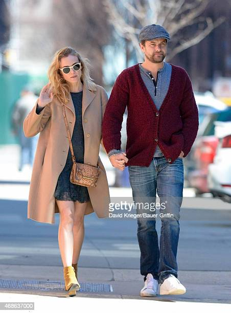 Diane Kruger and Joshua Jackson are seen in New York City on April 04, 2015 in New York City.