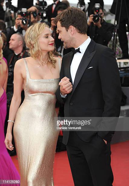 Diane Kruger and Joshua Jackson attend the Sleeping Beauty Premiere during the 64th Annual Cannes Film Festival at the Palais des Festivals on May 12...