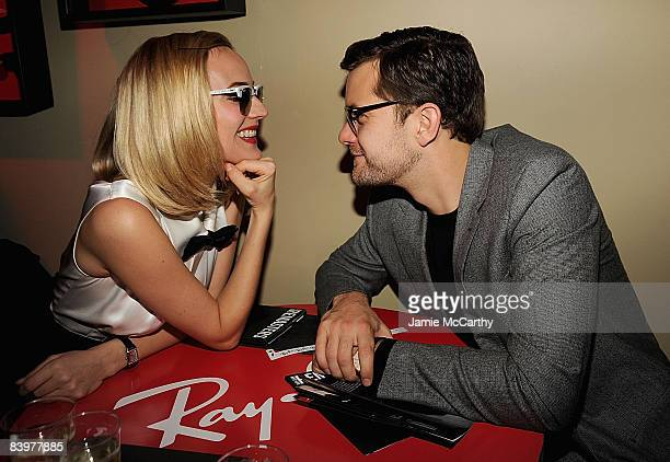 Diane Kruger and Joshua Jackson wearing RayBan sunglasses attend RayBan Remasters at Bowery Ballroom on December 9 2008 in New York City