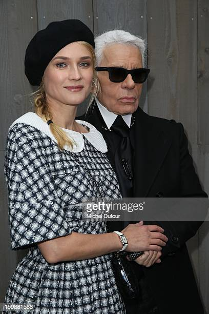 Diane Kruger and Karl Lagerfeld attend the Chanel Spring/Summer 2013 Haute-Couture show as part of Paris Fashion Week at Grand Palais on January 22,...
