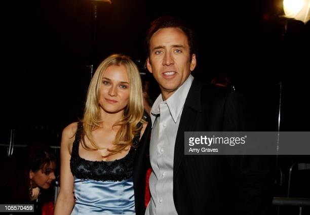Diane Kruger and Nicolas Cage during National Treasure World Premiere Red Carpet at Pasadena Civic Auditorium in Pasadena California United States