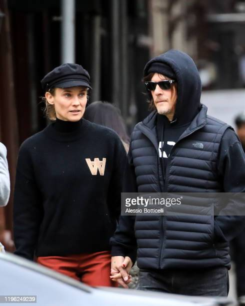 Diane Kruger and Norman Reedus are seen walking in West Village on December 27 2019 in New York City