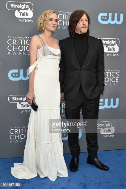 Diane Kruger and Norman Reedus attend The 23rd Annual Critics' Choice Awards Arrivals at The Barker Hanger on January 11 2018 in Santa Monica...