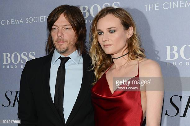Diane Kruger and Norman Reedus attend The Cinema Society And Hugo Boss Host The Premiere Of IFC Films' Sky at Metrograph on April 14 2016 in New York...