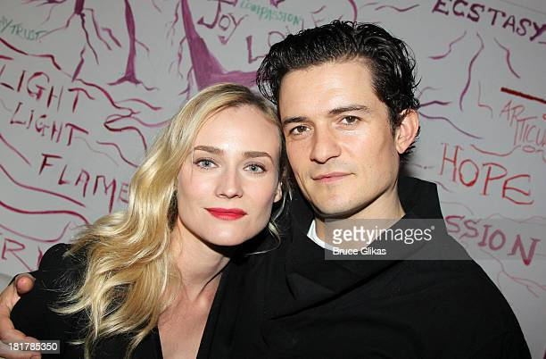 Diane Kruger and Orlando Bloom pose backstage at 'Romeo and Juliet' on Broadway at The Richard Rogers Theater on September 24 2013 in New York City