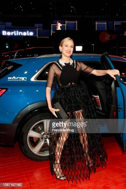 Diane Kruger arrives in Audi etron car for the The Operative premiere during the 69th Berlinale International Film Festival at Berlinale Palace on...