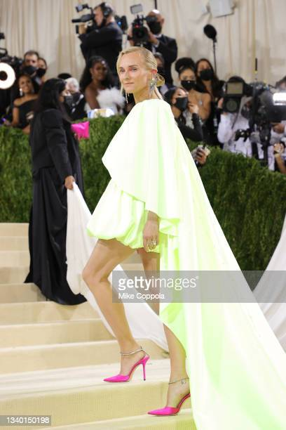 Diane Kruger attends The 2021 Met Gala Celebrating In America: A Lexicon Of Fashion at Metropolitan Museum of Art on September 13, 2021 in New York...