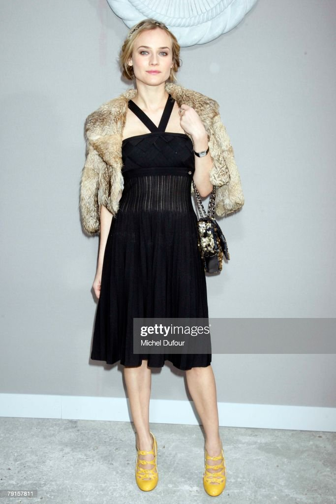 Diane Kruger attends the Chanel Fashion show, during Paris Fashion Week (Haute Couture) Spring-Summer 2008 at Grand Palais on January 22, 2008 in Paris, France.
