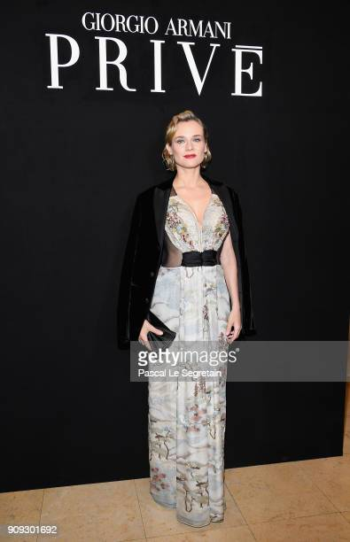 Diane Kruger attends the Giorgio Armani Prive Haute Couture Spring Summer 2018 show as part of Paris Fashion Week on January 23 2018 in Paris France