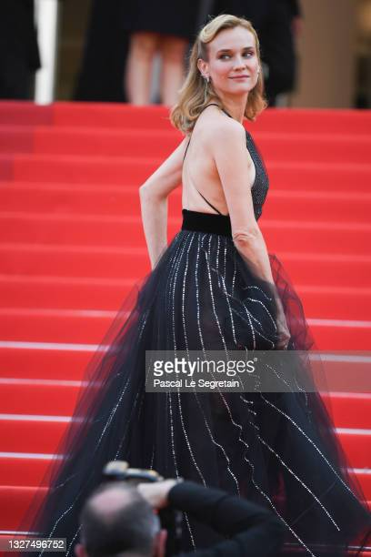 """Diane Kruger attends the """"Tout S'est Bien Passe """" screening during the 74th annual Cannes Film Festival on July 07, 2021 in Cannes, France."""