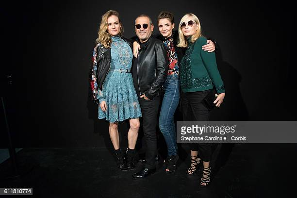 Diane Kruger Fashion designer Elie Saab Clotilde Courau and Emmanuelle Beart pose backstage prior the Elie Saab show as part of the Paris Fashion...
