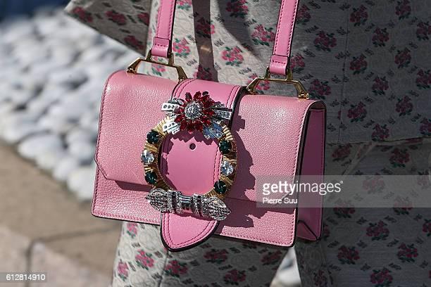 Diane Kruger handbag detail arrives at the Miu Miu show as part of the Paris Fashion Week Womenswear Spring/Summer 2017 on October 5 2016 in Paris...