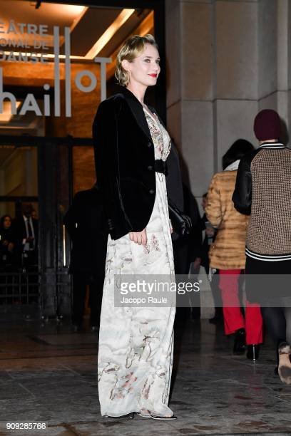 Diane Kruger is seen arriving at Armani Prive Fashion show during Paris Fashion Week Haute Couture Spring/Summer 2018 on January 23 2018 in Paris...