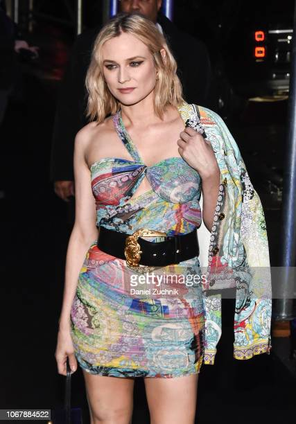 Diane Kruger is seen wearing a Versace outfit outside the Versace PreFall 2019 Collection on December 2 2018 in New York City