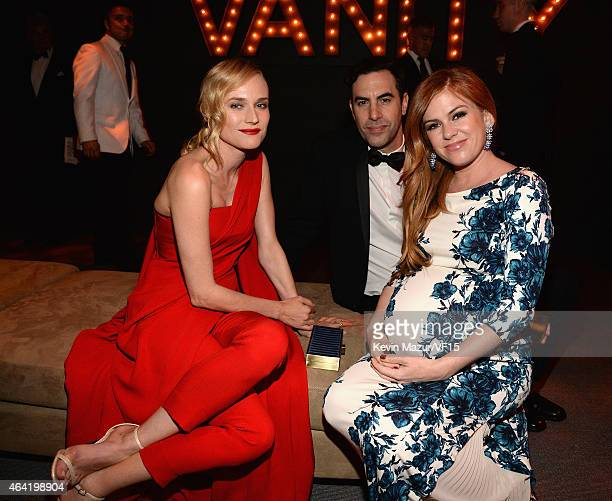 Diane Kruger Sacha Baron Cohen and Isla Fisher attend the 2015 Vanity Fair Oscar Party hosted by Graydon Carter at the Wallis Annenberg Center for...