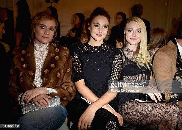 Diane Kruger Shailene Woodley and Dakota Fanning attend the Valentino show as part of the Paris Fashion Week Womenswear Spring/Summer 2017 on October...