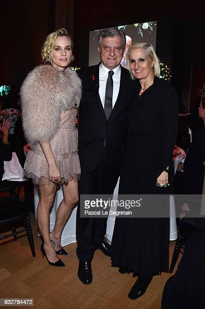 Diane KrugerSidney Toledano and Maria Grazia Chiuri attend the Sidaction Gala Dinner 2017 Haute Couture Spring Summer 2017 show as part of Paris...