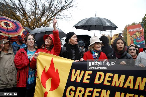 "Diane Lane, Amber Valletta and Jane Fonda demonstrate near the US Capitol during ""Fire Drill Friday"" climate change protest on November 22, 2019 in..."
