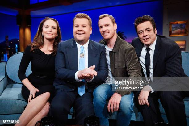 Diane Lane Michael Fassbender and Benecio Del Toro chat with James Corden during The Late Late Show with James Corden Thursday May 18 2017 On The CBS...
