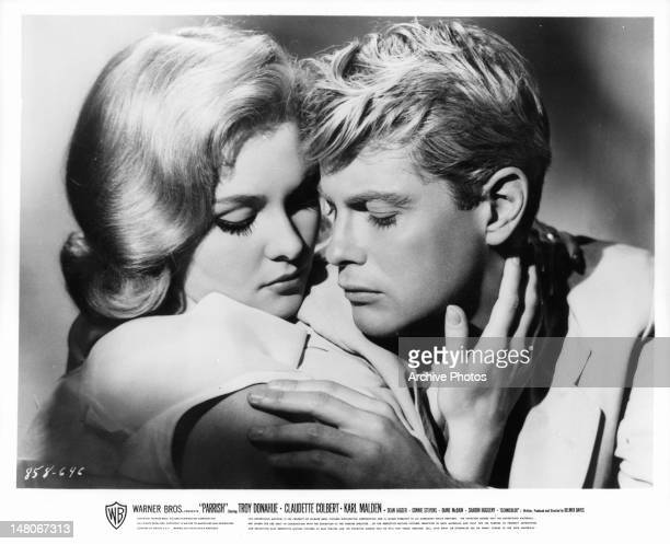 Diane McBain and Troy Donahue get close in a scene from the film 'Parrish' 1961