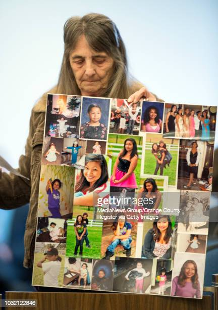 Diane Menzies grandmother of murder victim Kianna Jackson holds pictures of her during victim impact statements at the sentencing of Steven Gordon in...