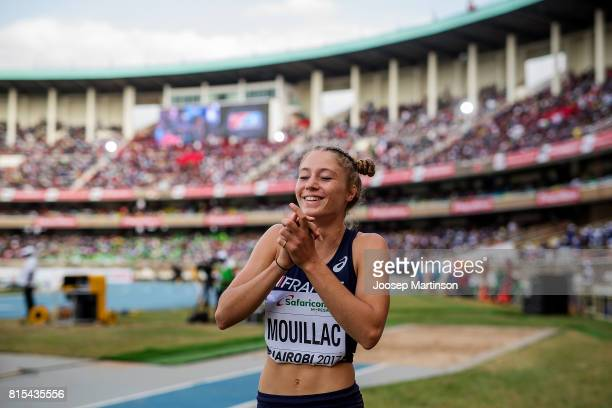 Diane Mouillac of France reacts in the girls long jump during day 5 of the IAAF U18 World Championships at Moi International Sports Centre Kasarani...