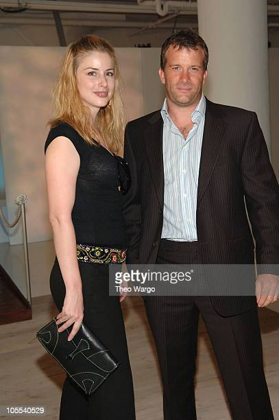 Diane Neal and Thomas Jane during Olympus Fashion Week Spring 2006 Nautica Front Row and Backstage at Boylan Studios in New York City New York United...