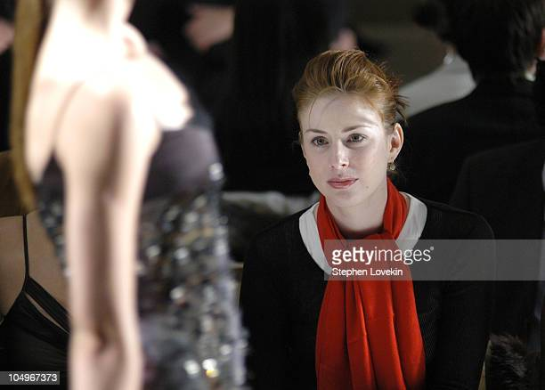 Diane Neal during Olympus Fashion Week Fall 2004 Badgley Mischka Front Row at The Promenade at Bryant Park in New York City New York United States