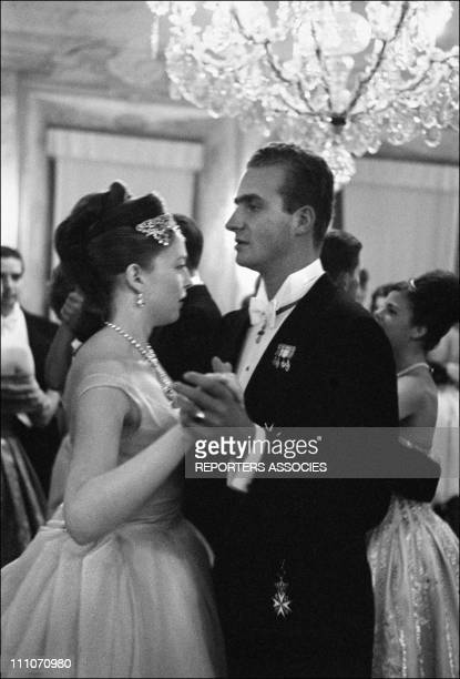 Diane of France dancing with Prince Juan Carlos of Spain at Wedding of Diane of France and Carl of Wurtemberg in Altshausen Germany in July 1960