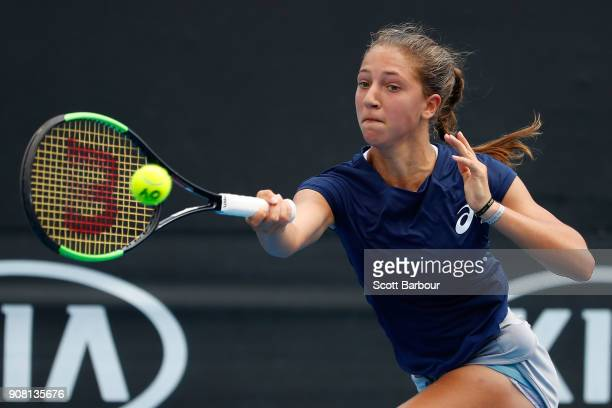 Diane Parry of France plays a forehand against Anri Nagata of Japan during the Australian Open 2018 Junior Championships at Melbourne Park on January...
