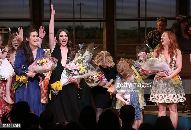 Diane Paulus Keala Settle Sara Bareilles Jessie Nelson Jessie Mueller and Lorin Latarro with the cast during the Broadway Opening Night performance...