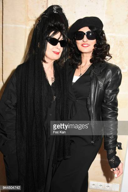 Diane Pernet and Sylvie Ortega Munos attend the 'Bel RP' 10th Anniversary at Atelier Sevigne on April 10 2018 in Paris France