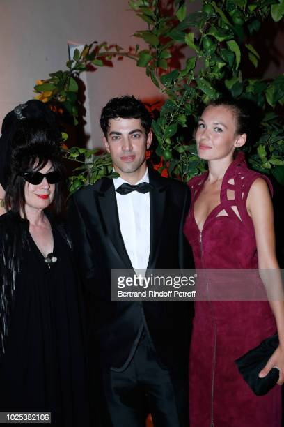 Diane Pernet director Julien Landais and Alice Aufray attend the Celebrazione Party By Chopard and Generali To Honor The 75th Venice Film Festival at...
