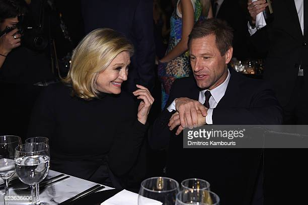 Diane Sawyer and Aaron Eckhart attend the MoMA Film Benefit presented by CHANEL A Tribute To Tom Hanks at MOMA on November 15 2016 in New York City
