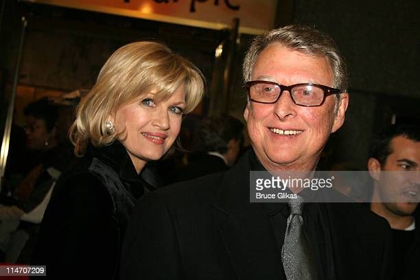 Diane Sawyer and Mike Nichols during The Color Purple Broadway Opening Night Arrivals at The Broadway Theatre in New York City New York United States
