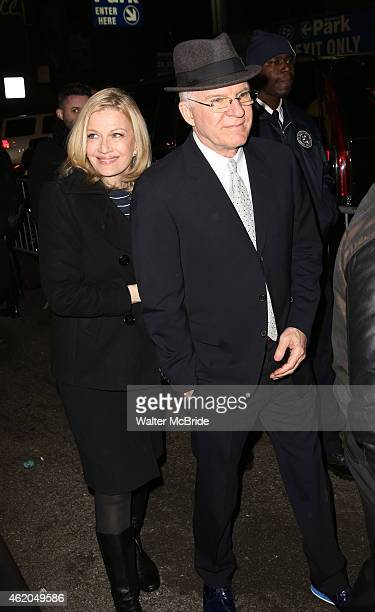 Diane Sawyer and Steve Martin attend the reopening night of 'It's Only A Play' at the Bernard B Jacobs Theatre on January 23 2014 in New York City