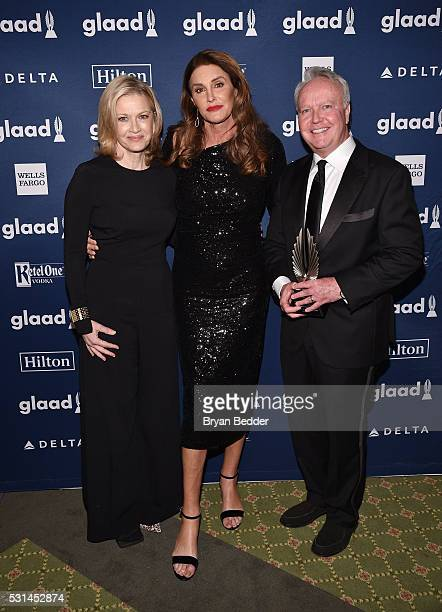 Diane Sawyer Caitlyn Jenner and David Sloan attend the 27th Annual GLAAD Media Awards at Waldorf Astoria Hotel in New York on May 14 2016 in New York...