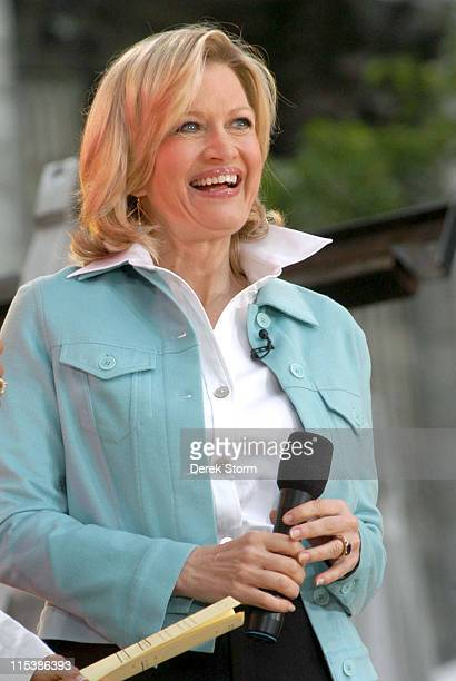 Diane Sawyer during Shakira Performs on the 2005 Good Morning America Summer Concert Series at Bryant Park in New York City New York United States