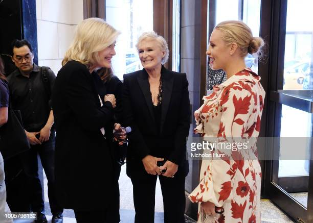 Diane Sawyer Glenn Close and Annie Starke attends the New York Screening of 'The Wife' at The Paley Center for Media on July 26 2018 in New York City