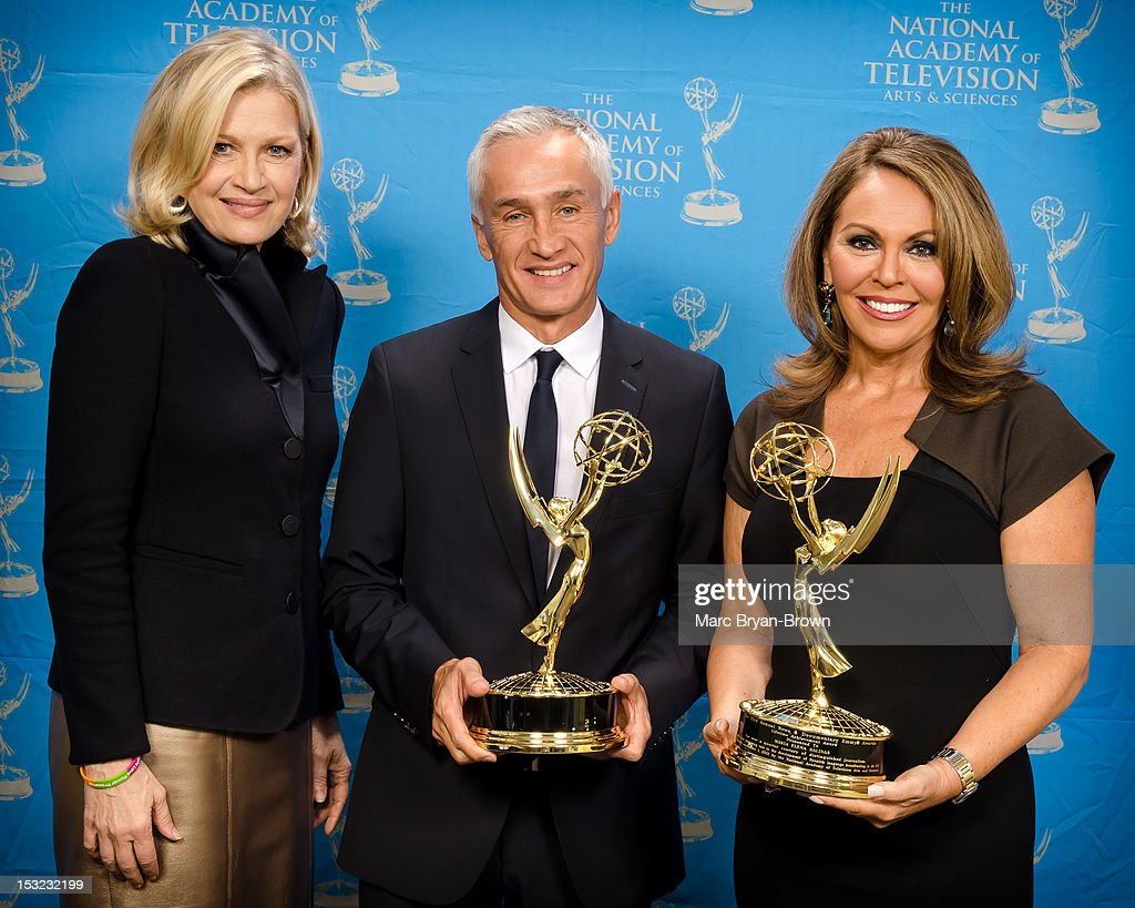 Diane Sawyer of ABC poses with Lifetime Achievement Awards winners Jorge Ramos and Maria Elena Salinas at the 33rd annual News & Documentary Emmy awards at Frederick P. Rose Hall, Jazz at Lincoln Center on October 1, 2012 in New York City.