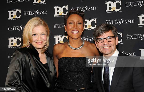Diane Sawyer Robin Roberts and George Stephanopoulos attend the 24th Annual Broadcasting Cable Hall Of Fame Awards at The Waldorf Astoria on October...