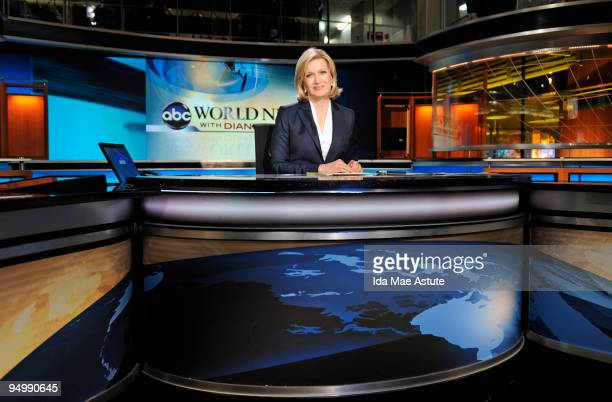 Diane Sawyer sits on the set of 'World News With Diane Sawyer' during the nationally televised news brief at the ABC News headquarters December 21...