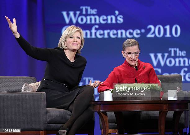 Diane Swayer and Associate Justice Ruth Bader Ginsburg speak during the Maria Shriver Women's Conference at the Long Beach Convention Center on...
