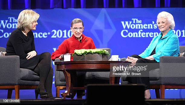 Diane Swayer Associate Justice Ruth Bader Ginsburg and Former Associate Justice Sandra Day O' Connor speak during the Maria Shriver Women's...